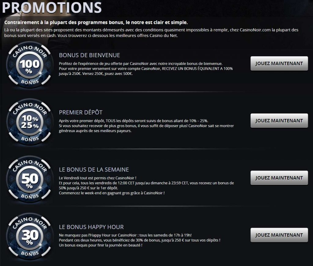 Promotions Casino Noir