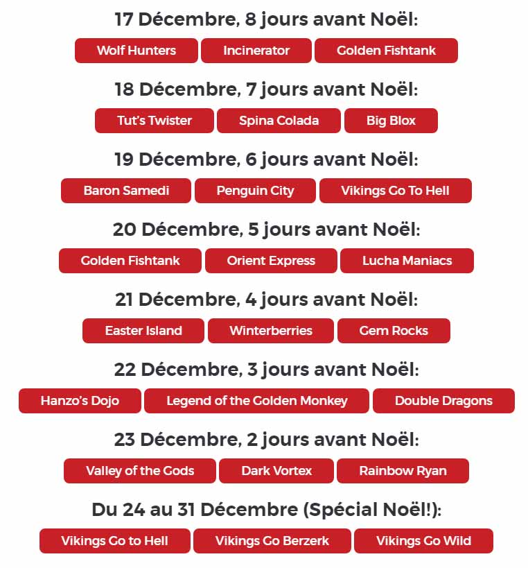 Dates de la Promotion Christmas Countdown